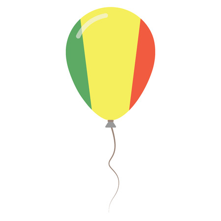 Republic of Mali national colors isolated balloon on white background. Independence day patriotic poster. Flat style National day vector illustration. Illustration