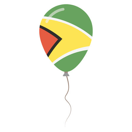 Co-operative Republic of Guyana national colors isolated balloon on white background. Independence day patriotic poster. Flat style National day vector illustration.