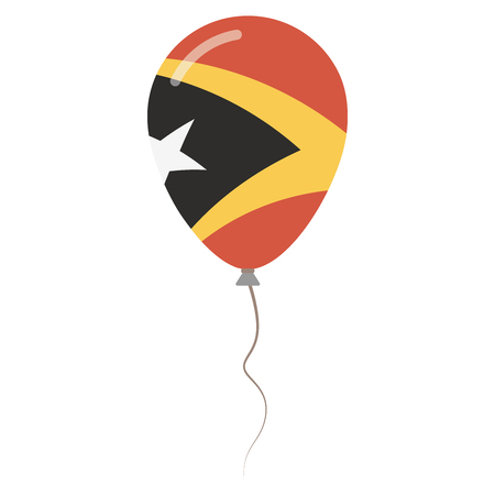 Democratic Republic of Timor-Leste national colors isolated balloon on white background. Independence day patriotic poster. Flat style National day vector illustration.