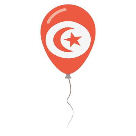 Republic of Tunisia national colors isolated balloon on white background. Independence day patriotic poster. Flat style National day vector illustration. Illustration