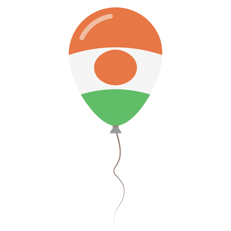 Republic of Niger national colors isolated balloon on white background. Independence day patriotic poster. Flat style National day vector illustration. Illustration