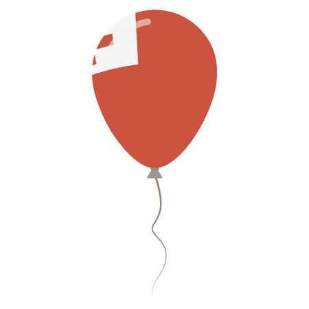 Kingdom of Tonga national colors isolated balloon on white background. Independence day patriotic poster. Flat style National day vector illustration.