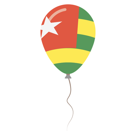 Togolese Republic national colors isolated balloon on white background. Independence day patriotic poster. Flat style National day vector illustration.