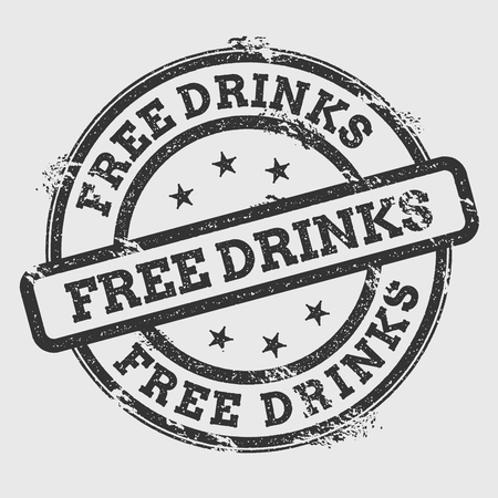 Free drinks rubber stamp isolated on white background. Grunge round seal with text, ink texture and splatter and blots, vector illustration.