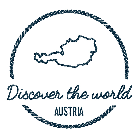 Austria map outline vintage discover the world rubber stamp with Austria map. Hipster style nautical rubber stamp, with round rope border. Country map vector illustration.