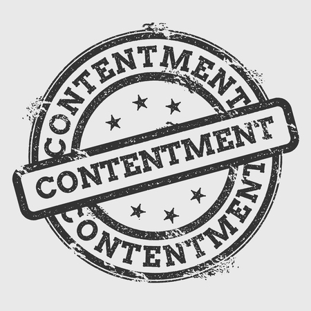 Contentment rubber stamp isolated on white background. Grunge round seal with text, ink texture and splatter and blots, vector illustration.