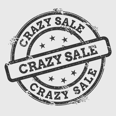 Crazy sale rubber stamp isolated on white background. Grunge round seal with text, ink texture and splatter and blots, vector illustration.