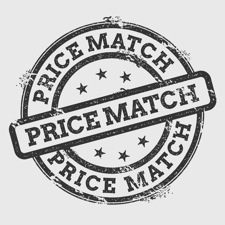 Price match rubber stamp isolated on white background. Grunge round seal with text, ink texture and splatter and blots, vector illustration. Vettoriali
