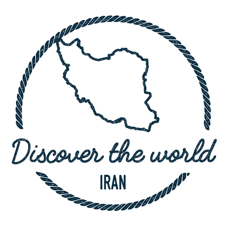 Iran, Islamic Republic Of Map Outline. Vintage Discover the World Rubber Stamp with Iran, Islamic Republic Of Map. Hipster Style Nautical Rubber Stamp, with Round Rope Border. Illustration