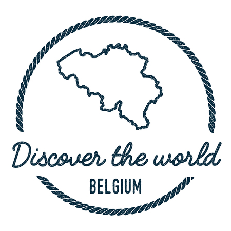 Belgium Map Outline. Vintage Discover the World Rubber Stamp with Belgium Map. Hipster Style Nautical Rubber Stamp, with Round Rope Border. Country Map Vector Illustration. Illustration
