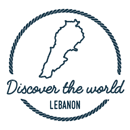 Lebanon Map Outline. Vintage Discover the World Rubber Stamp with Lebanon Map. Hipster Style Nautical Rubber Stamp, with Round Rope Border. Country Map Vector Illustration.