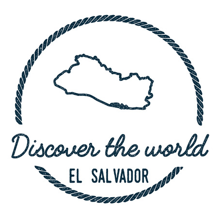 El Salvador Map Outline. Vintage Discover the World Rubber Stamp with El Salvador Map. Hipster Style Nautical Rubber Stamp, with Round Rope Border. Country Map Vector Illustration.