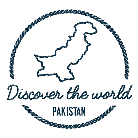 Pakistan Map Outline. Vintage Discover the World Rubber Stamp with Pakistan Map. Hipster Style Nautical Rubber Stamp, with Round Rope Border. Country Map Vector Illustration. Illustration