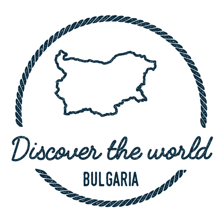 Bulgaria Map Outline. Vintage Discover the World Rubber Stamp with Bulgaria Map. Hipster Style Nautical Rubber Stamp, with Round Rope Border. Country Map Vector Illustration. Illustration