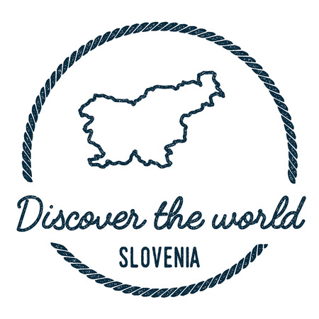 Slovenia Map Outline. Vintage Discover the World Rubber Stamp with Slovenia Map. Hipster Style Nautical Rubber Stamp, with Round Rope Border. Country Map Vector Illustration.
