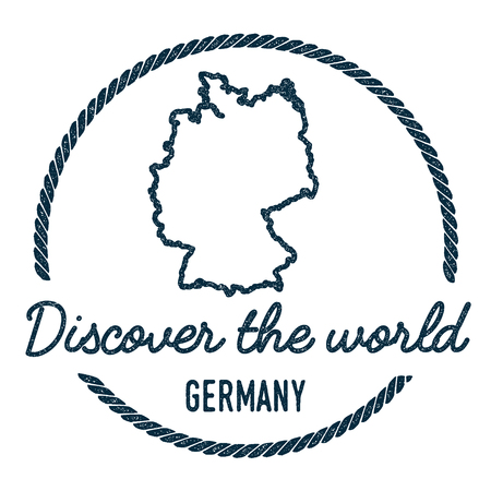 Germany Map Outline. Vintage Discover the World Rubber Stamp with Germany Map. Hipster Style Nautical Rubber Stamp, with Round Rope Border. Country Map Vector Illustration. Illusztráció