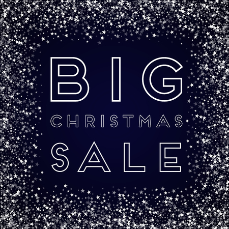 Big Christmas Sale greeting card. Amazing falling stars background. Amazing falling stars on deep blue background. Splendid vector illustration.