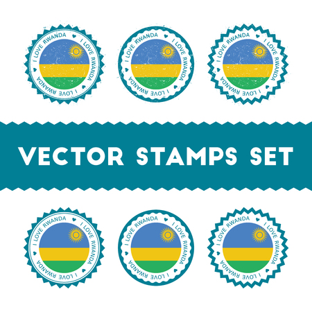 I Love Rwanda vector stamps set. Retro patriotic country flag badges. National flags vintage round signs.