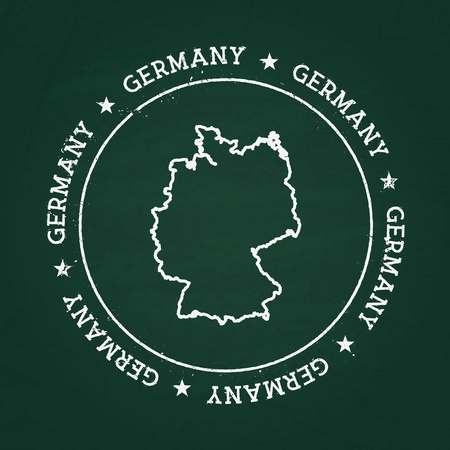 White chalk texture rubber seal with Federal Republic of Germany map on a green blackboard. Grunge rubber seal with country outlines, vector illustration. Illusztráció