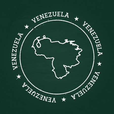 White chalk texture rubber seal with Bolivarian Republic of Venezuela map on a green blackboard. Grunge rubber seal with country outlines, vector illustration. Stock Illustratie