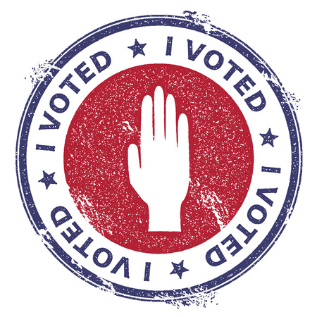 Grunge raised hand rubber stamp. USA presidential election patriotic seal with raised hand silhouette and I voted text. Rubber stamp vector illustration. Vectores