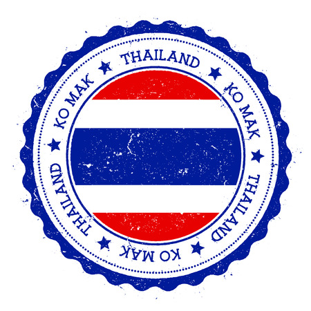 Ko Mak flag badge. Vintage travel stamp with circular text, stars and island flag inside it. Vector illustration.