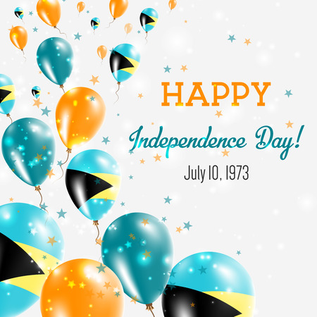 Bahamas Independence Day Greeting Card. Flying Balloons in Bahamas National Colors. Happy Independence Day Bahamas Vector Illustration.