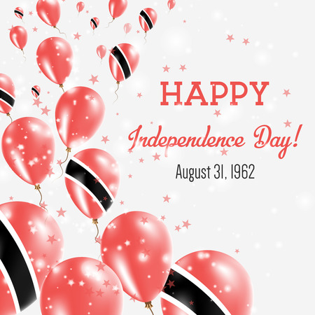Trinidad and Tobago Independence Day Greeting Card. Flying Balloons in Trinidad and Tobago National Colors. Happy Independence Day Trinidad and Tobago Vector Illustration.