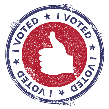 Grunge thumb up rubber stamp. USA presidential election patriotic seal with thumb up silhouette and I voted text. Rubber stamp vector illustration.