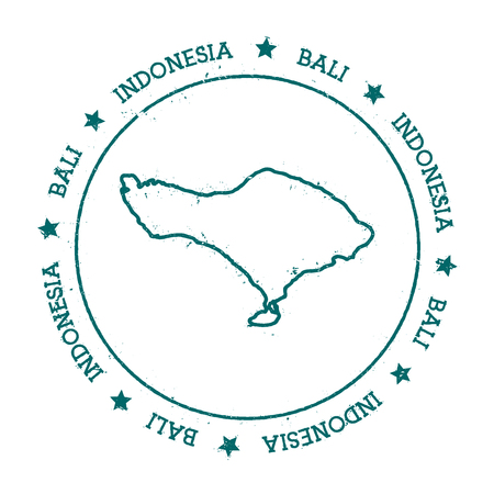 Bali vector map. Distressed travel stamp with text wrapped around a circle and stars. Island sticker vector illustration. 向量圖像