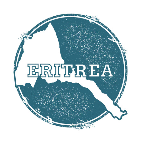 Grunge rubber stamp with name and map of Eritrea, vector illustration. Can be used as insignia, logotype, label, sticker or badge of the country.