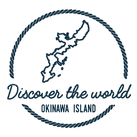 Okinawa Island Map Outline. Vintage Discover the World Rubber Stamp with Island Map. Hipster Style Nautical Insignia, with Round Rope Border. Travel Vector Illustration.