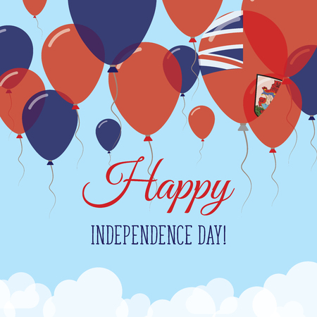 Bermuda Independence Day Flat Greeting Card. Flying Rubber Balloons in Colors of the Bermudian Flag. Happy National Day Vector Illustration.