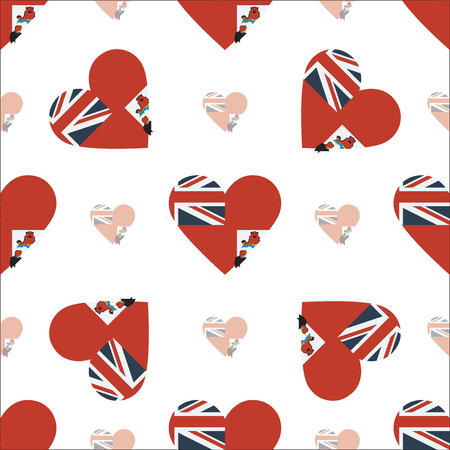 Bermuda flag patriotic seamless pattern. National flag in the shape of heart. Vector illustration.