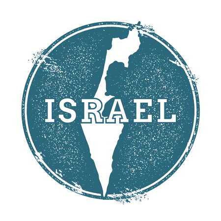 Grunge rubber stamp with name and map of Israel, vector illustration. Can be used as insignia, logotype, label, sticker or badge of the country.