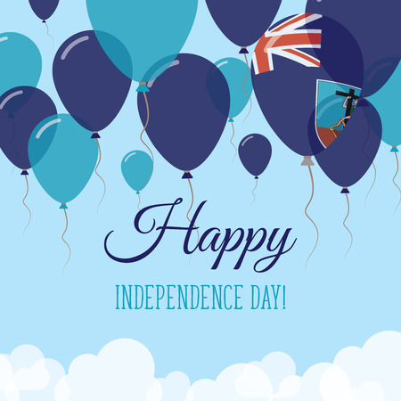 Montserrat Independence Day Flat Greeting Card. Flying Rubber Balloons in Colors of the Montserratian Flag. Happy National Day Vector Illustration.