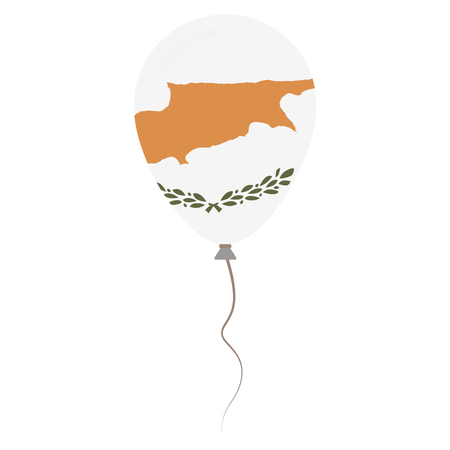 Republic of Cyprus national colors isolated balloon on white background. Independence day patriotic poster. Flat style National day vector illustration. Vettoriali