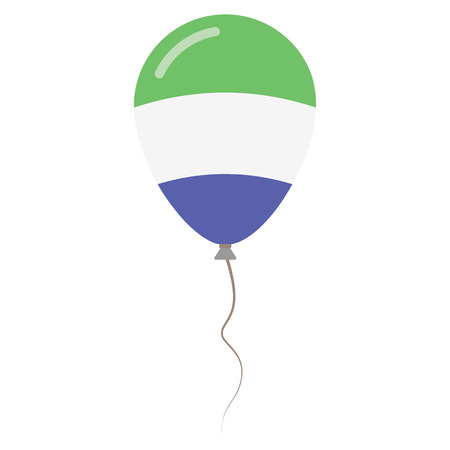 Republic of Sierra Leone national colors isolated balloon on white background. Independence day patriotic poster. Flat style National day vector illustration. Illustration