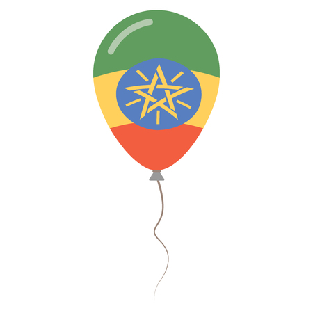 Federal Democratic Republic of Ethiopia national colors isolated balloon on white background.