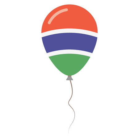 Republic of the Gambia national colors isolated balloon on white background. Independence day patriotic poster. Flat style National day vector illustration.