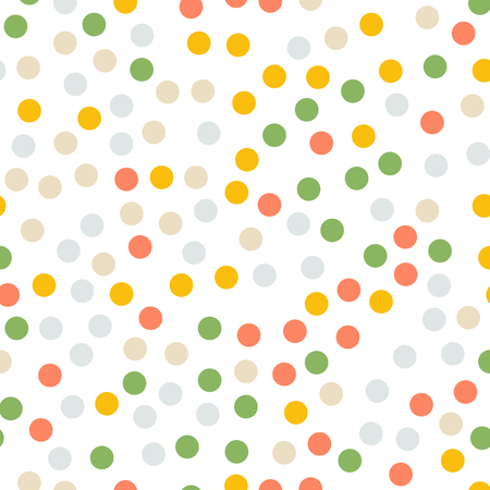 Colorful polka dots seamless pattern on white