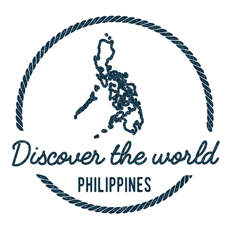 Philippines Map Outline. Vintage Discover the World Rubber Stamp with Philippines Map. Hipster Style Nautical Rubber Stamp, with Round Rope Border. Country Map Vector Illustration.