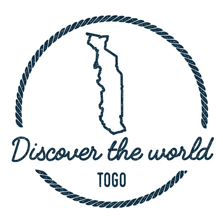 Vintage Discover the World Rubber Stamp with Togo Map