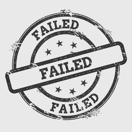 Failed rubber stamp isolated on white background. Grunge round seal with text, ink texture and splatter and blots, vector illustration. 일러스트