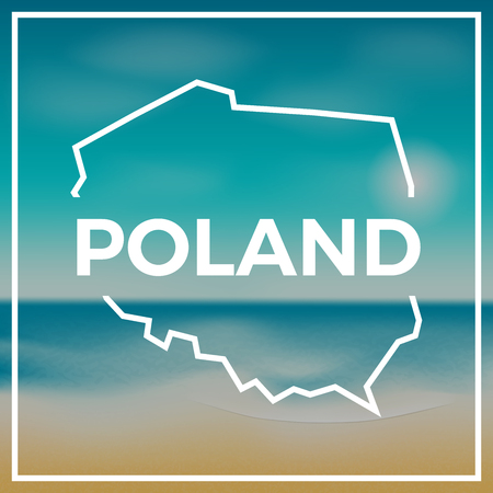Poland map rough outline against the backdrop of beach and tropical sea with bright sun. Ilustrace