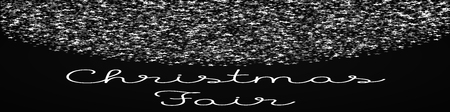 Christmas Fair greeting card. Amazing falling stars background. Amazing falling stars on black background. Resplendent vector illustration.