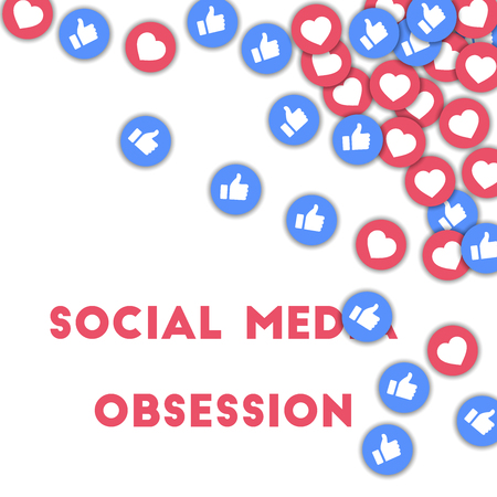 Social media obsession. Social media icons in abstract shape background with scattered thumbs up and hearts. Social media obsession concept in fair vector illustration. Çizim