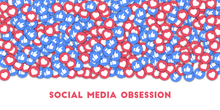 Social media obsession. Social media icons in abstract shape background with scattered thumbs up and hearts. Social media obsession concept in good-looking vector illustration. Illustration