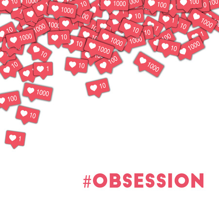 #obsession. Social media icons in abstract shape background with pink counter. #obsession concept in remarkable vector illustration.