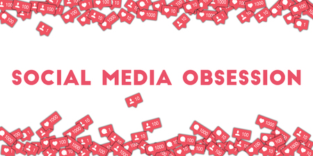 Social media obsession. Social media icons in abstract shape background with counter, comment and friend notification. Social media obsession concept in interesting vector illustration.
